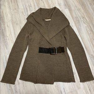 Soft Surroundings Mocha Belted Cardigan Sweater Sm